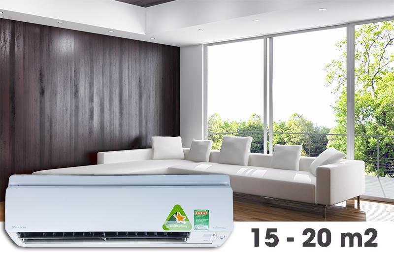 Công suất làm lạnh 1.5 HP thích hợp diện tích 15-20 m2