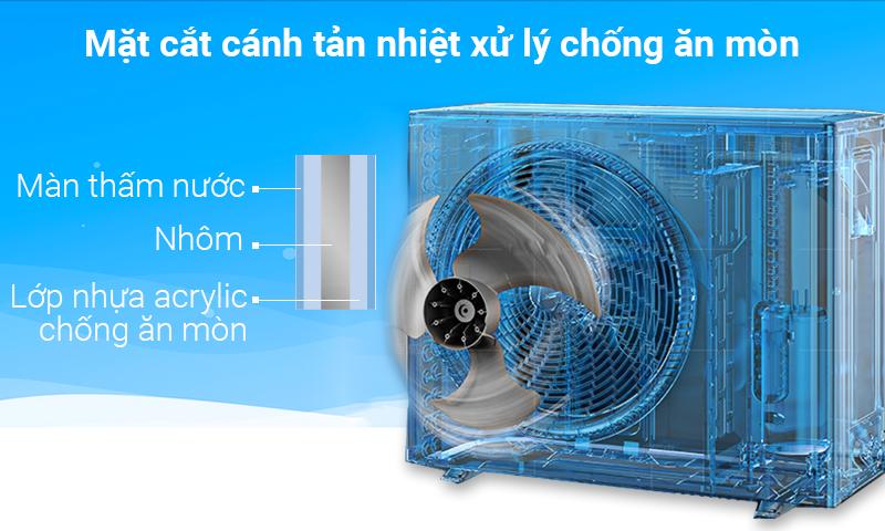 Với dàn tản nhiệt chống ăn mòn, điều hòa 2 chiều Daikin 18000 BTU FTXS50GVMV sẽ có tuổi thọ bền lâu