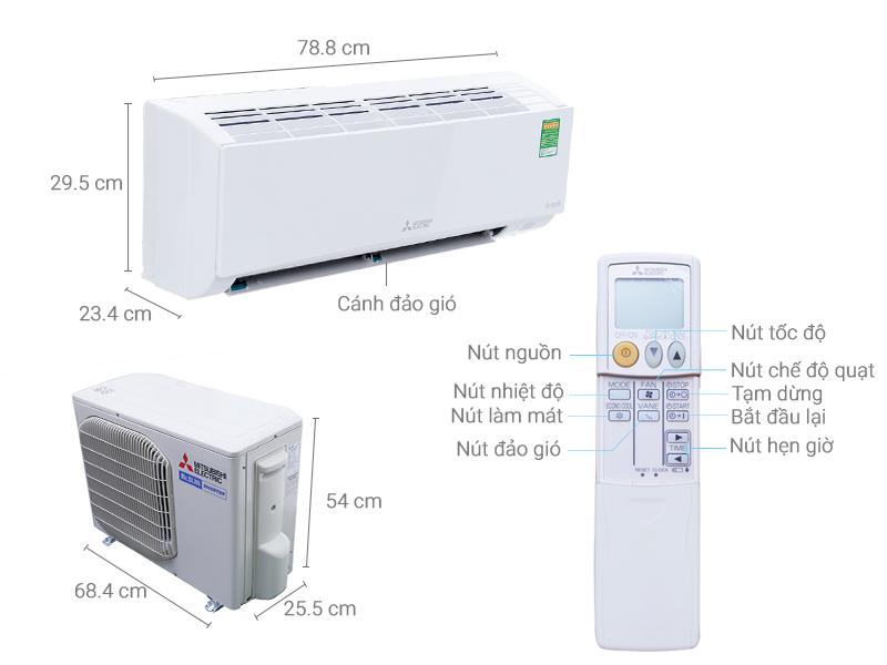 Thông số kỹ thuật Máy lạnh Mitsubishi Electric Inverter 1 HP MSY-GH10VA