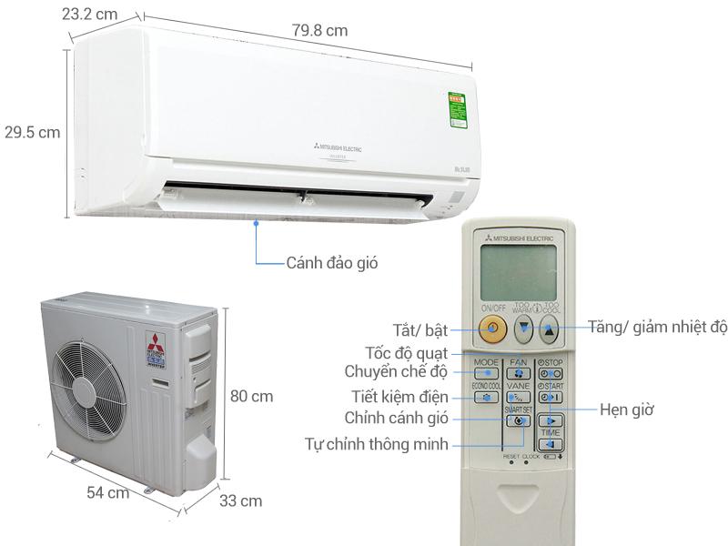 Thông số kỹ thuật Điều hòa Mitsubishi Electric Inverter 17000 BTU MSY-GH18VA