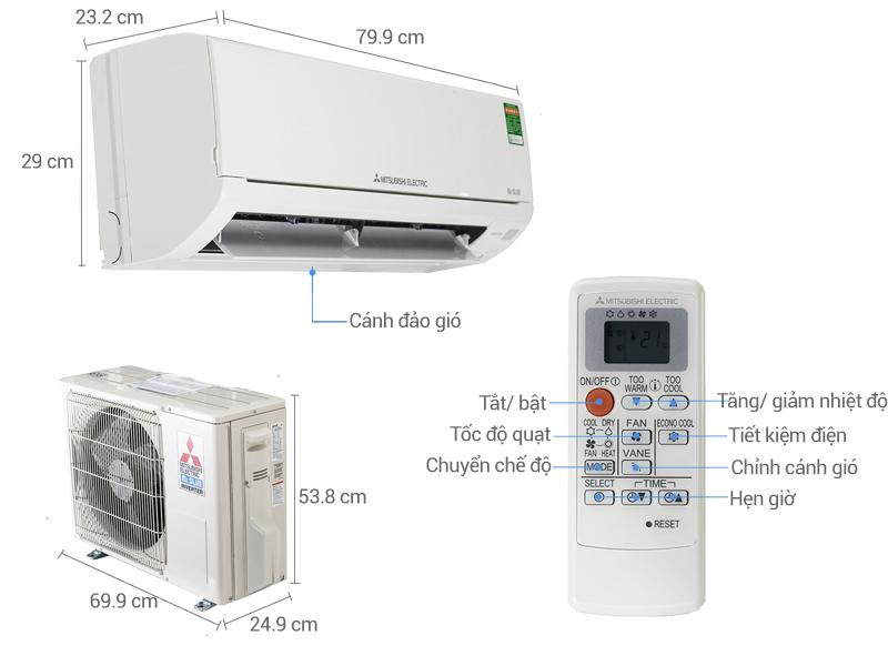 Thông số kỹ thuật Điều hòa Mitsubishi Electric Inverter 12283 BTU MSZ-HL35VA