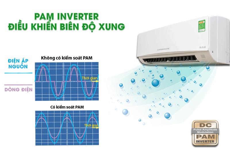 Công nghệ inverter với Pam điều biến biên độ xung và tính năng Econo Cool giúp tiết kiệm điện tối ưu