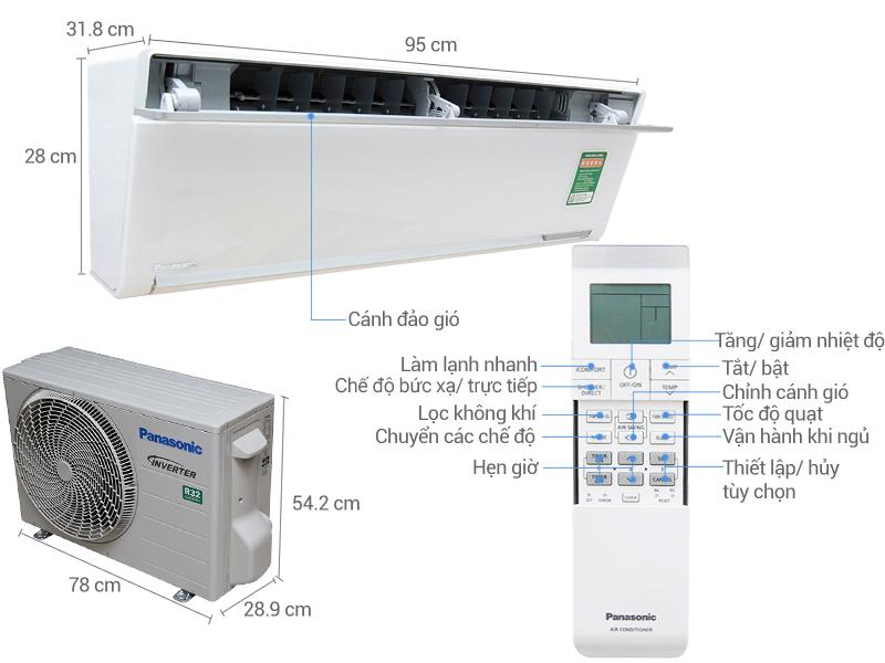 Thông số kỹ thuật Máy lạnh Panasonic Inverter 1 HP CU/CS-VU9SKH-8