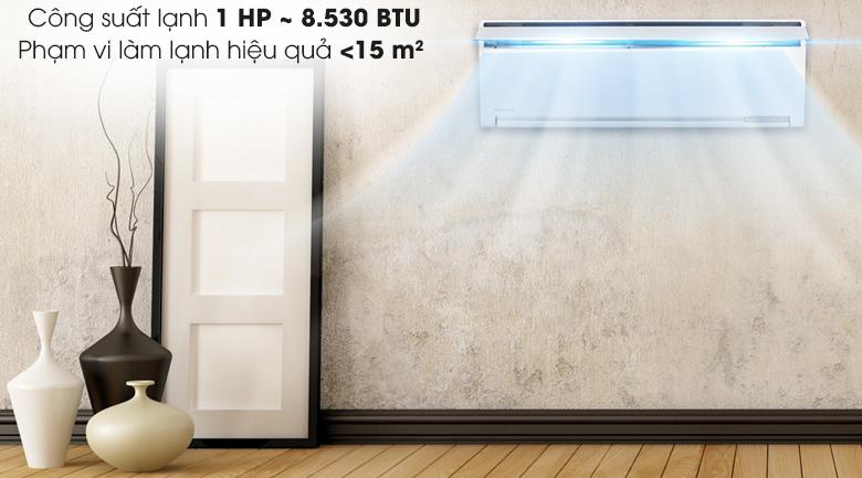 Công suất 1 HP phù hợp với gian phòng dưới 15 m2