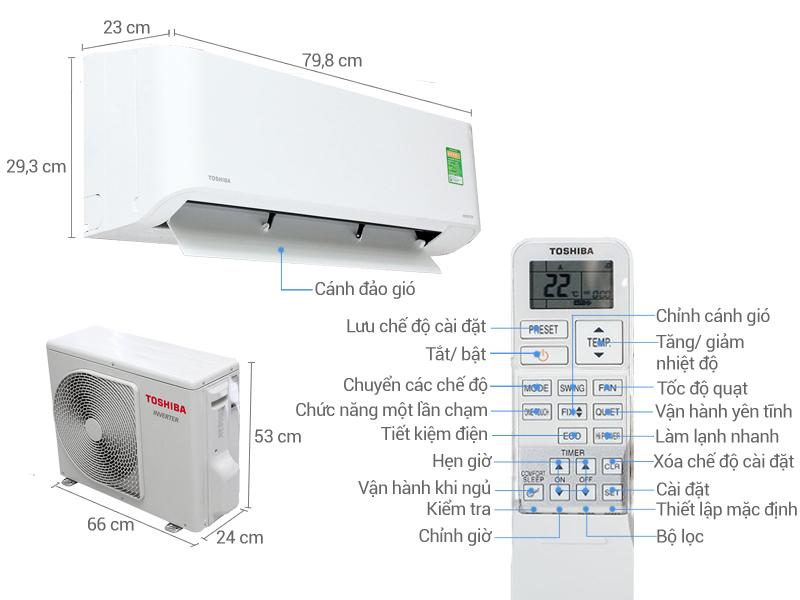 Thông số kỹ thuật Máy lạnh Toshiba Inverter 1 HP RAS-H10BKCV-V