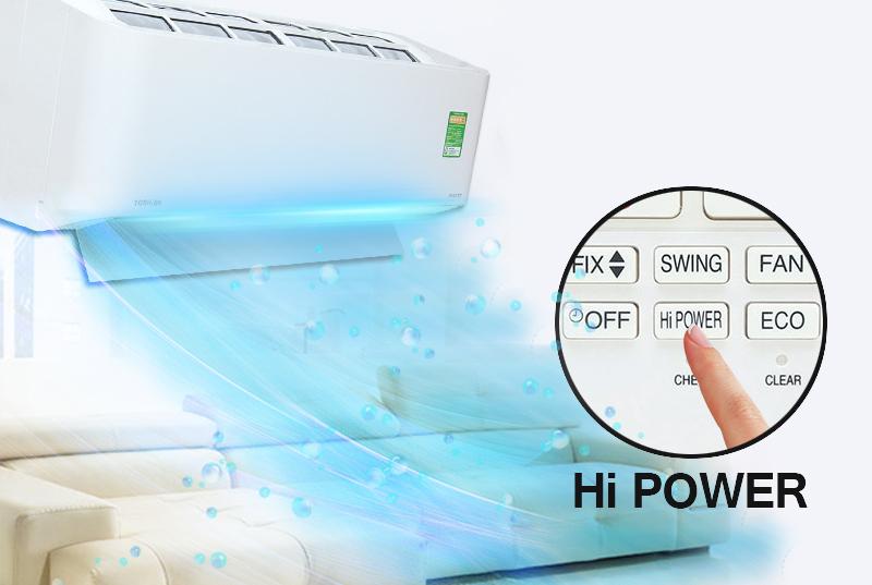 Công nghệ Hi Power độc đáo của điều hòa Toshiba 1 HP RAS-H10BKCV-V giúp cho căn phòng nhanh chóng được làm lạnh mạnh mẽ và đồng đều