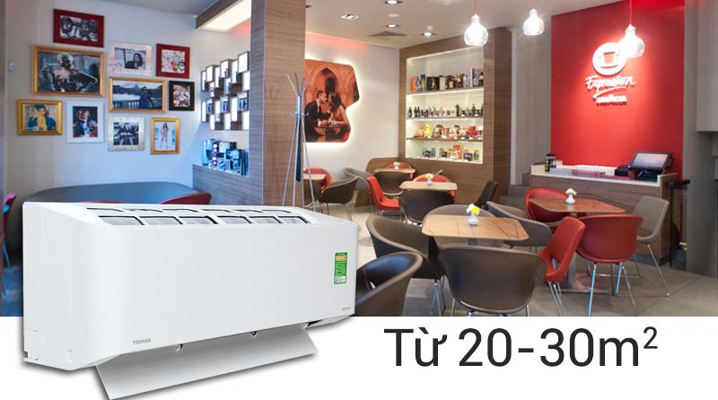 Công suất làm lạnh 2 HP giúp cho điều hòa Toshiba RAS-H18BKCV-V có thể làm lạnh tốt nhất trong những căn phòng từ 20 đến 30 mét vuông