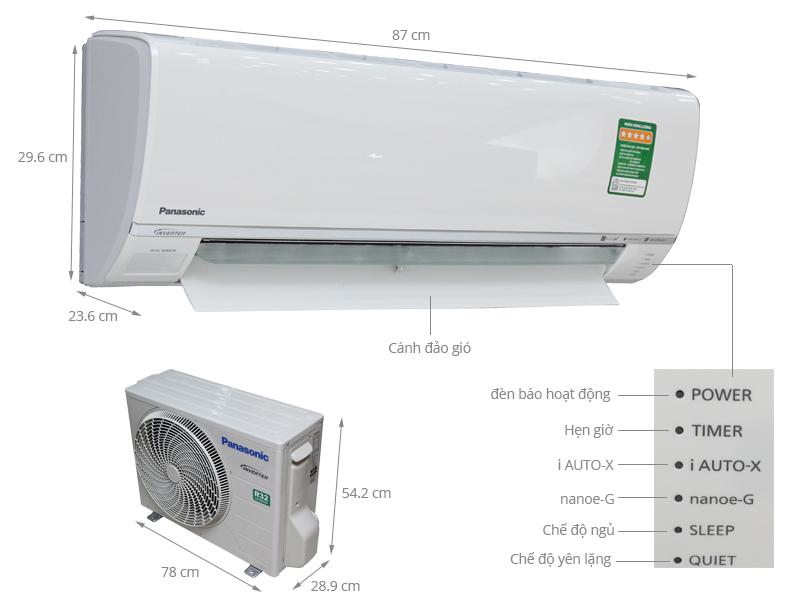 Thông số kỹ thuật Điều hòa Panasonic Inverter 11900 BTU CU/CS-U12SKH-8