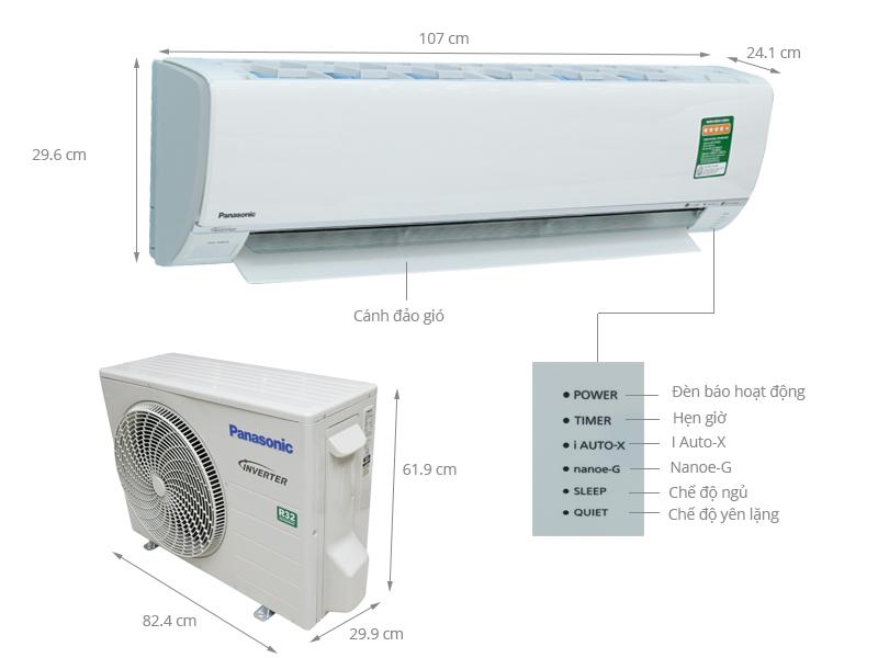 Thông số kỹ thuật Máy lạnh Panasonic Inverter 2 HP CU/CS-U18SKH-8