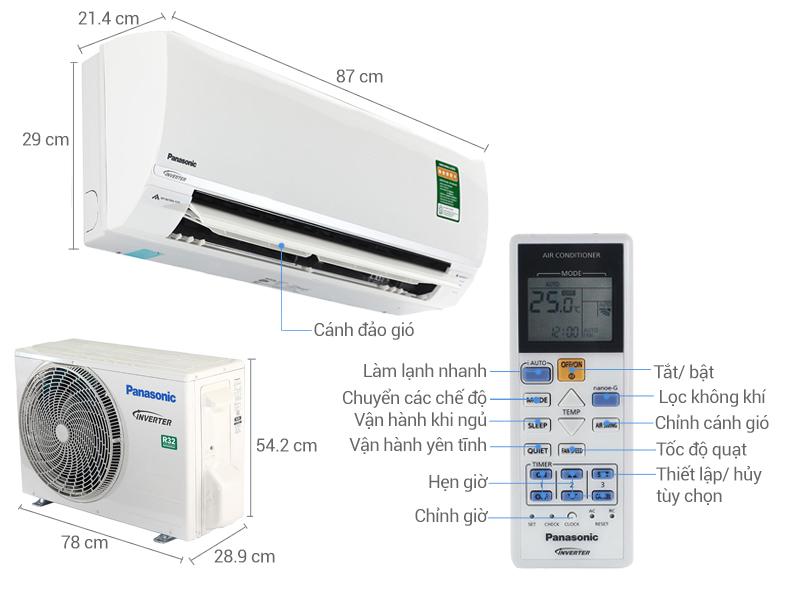 Thông số kỹ thuật Điều hòa 2 chiều Panasonic Inverter 1 HP CU/CS-YZ9SKH-8