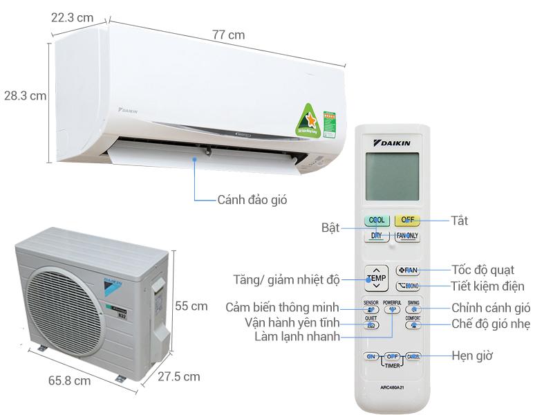 Thông số kỹ thuật Máy lạnh Daikin Inverter 1 HP FTKC25QVMV