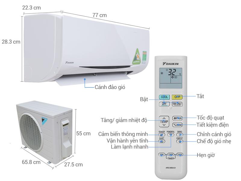 Thông số kỹ thuật Máy lạnh Daikin Inverter 1.5 HP FTKC35QVMV