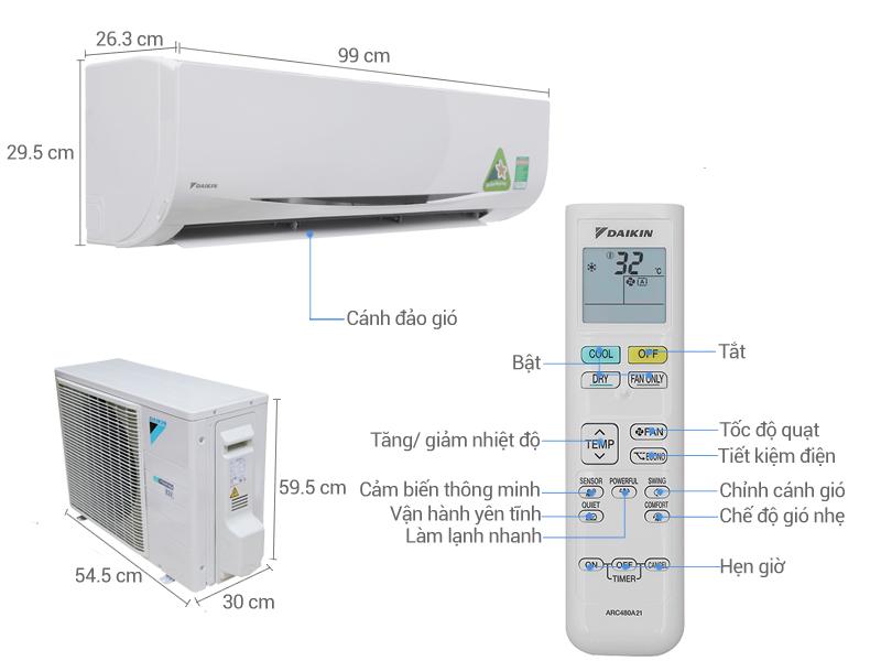 Thông số kỹ thuật Máy lạnh Daikin Inverter 2 HP FTKC50QVMV