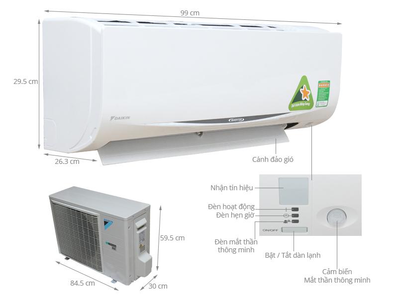 Thông số kỹ thuật Máy lạnh Daikin 2 HP FTKC50QVMV