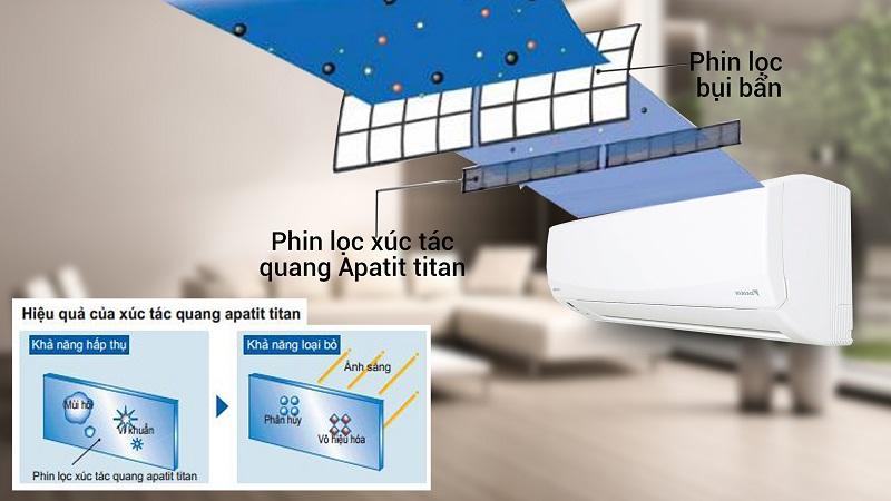 Phin lọc Apatit Titan mang lại cho điều hòa Daikin 2 HP FTKC50QVMV khả năng kháng khuẩn và khử mùi hiệu quả