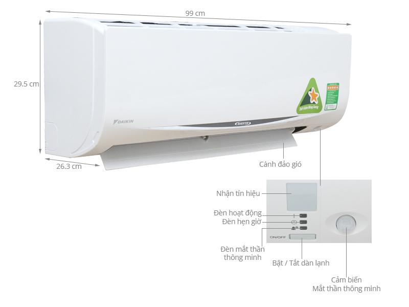 Thông số kỹ thuật Máy lạnh Daikin Inverter 2.5 HP FTKC60QVMV