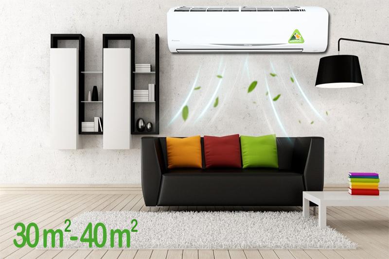 Công suất hoạt động 2.5 HP của chiếc máy lạnh Daikin giúp nó phù hợp cho các khu vực có diện tích từ 30 đến 40 mét vuông