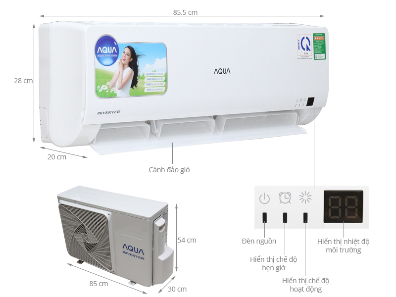 Thông số kỹ thuật Điều hòa Aqua Inverter 12000 BTU AQA-KCRV12WGS