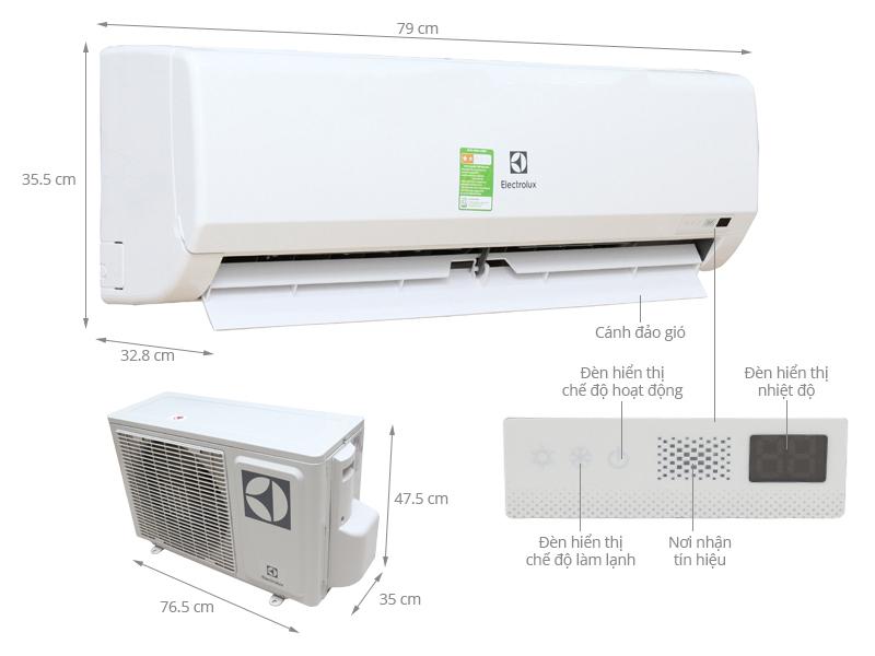 Thông số kỹ thuật Máy lạnh Electrolux 1 HP ESM09CRF-D3