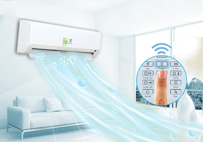 Công nghệ làm lạnh nhanh Turbo của điều hòa Electrolux ESM09CRF-D3 mang lại cho nó sự làm mát căn phòng nhanh chóng