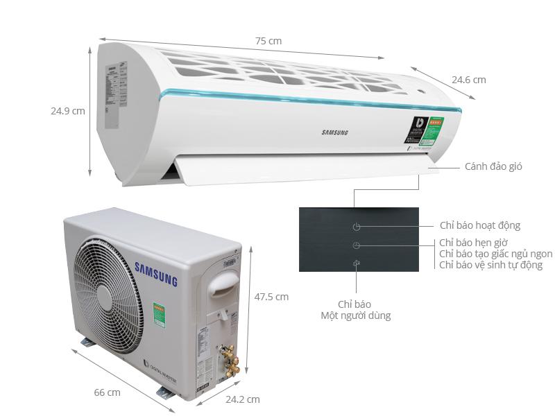 Thông số kỹ thuật Máy lạnh Samsung Inverter 1 HP AR10KVFSCURNSV