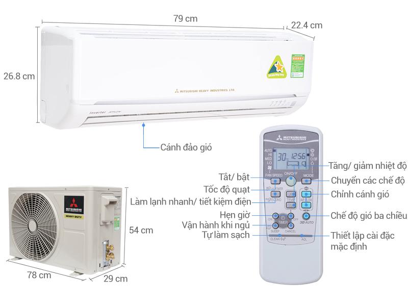 Thông số kỹ thuật Máy lạnh Mitsubishi Heavy Inverter 1 HP SRK10YL-S5