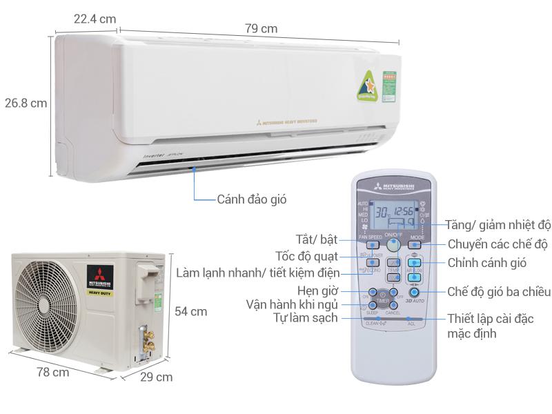 Thông số kỹ thuật Máy lạnh Mitsubishi Heavy Inverter 1.5 HP SRK13YL-S5