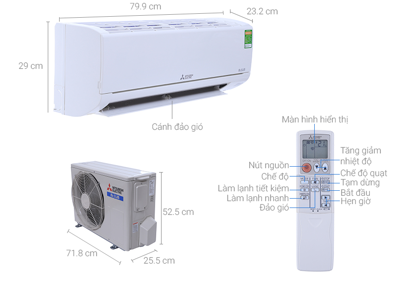 Thông số kỹ thuật Máy lạnh Mitsubishi 1.0 HP Electric MS-HM25VA