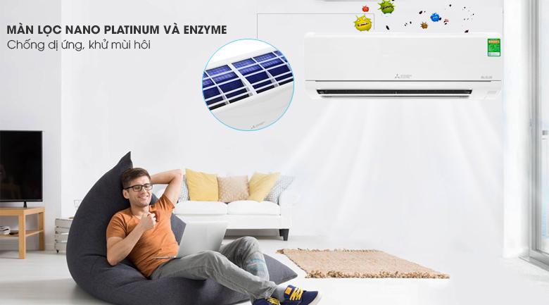 Màng lọc Enzyme kết hợp Nano Platinum - Máy lạnh Mitsubishi 1.0 HP Electric MS-HM25VA