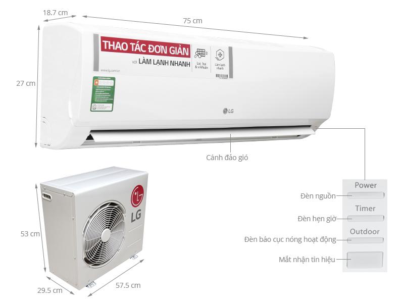 Thông số kỹ thuật Máy lạnh LG 1 HP S09EN3