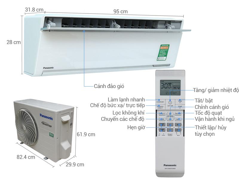 Thông số kỹ thuật Máy lạnh Panasonic Inverter 2 HP CU/CS-VU18SKH-8