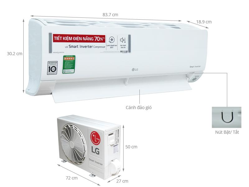 Thông số kỹ thuật Máy lạnh LG Inverter 1 HP V10APQ