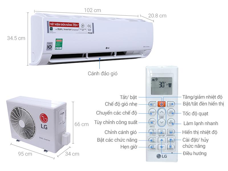 Thông số kỹ thuật Máy lạnh LG Inverter 2.5 HP V24END