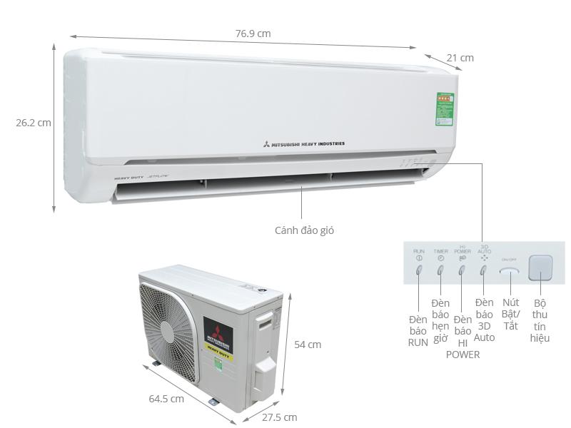 Thông số kỹ thuật Máy lạnh Mitsubishi Heavy 1.5 HP SRK13CRS-S5