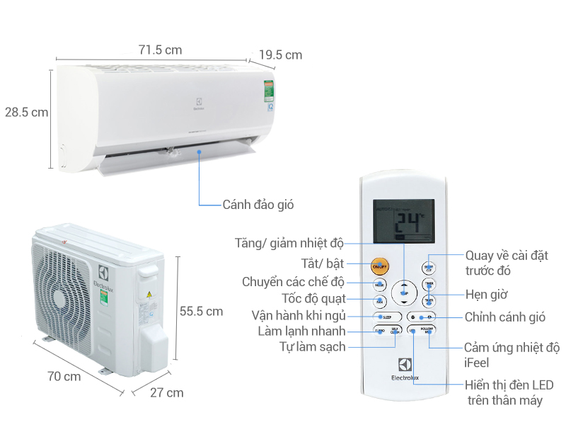 Thông số kỹ thuật Máy điều hòa 2 chiều Electrolux Inverter 9000 BTU ESV09HRK-