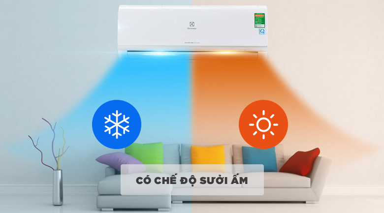 Làm lạnh và sưởi ấm - Máy điều hòa 2 chiều Electrolux Inverter 9000 BTU ESV09HRK-A3