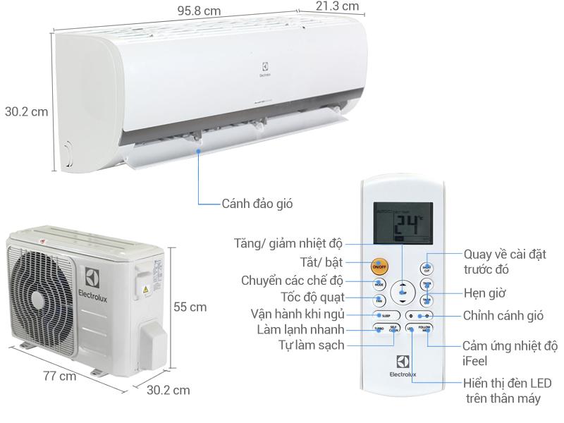 Thông số kỹ thuật Điều hòa 2 chiều Electrolux Inverter 18000 BTU ESV18HRK-A3