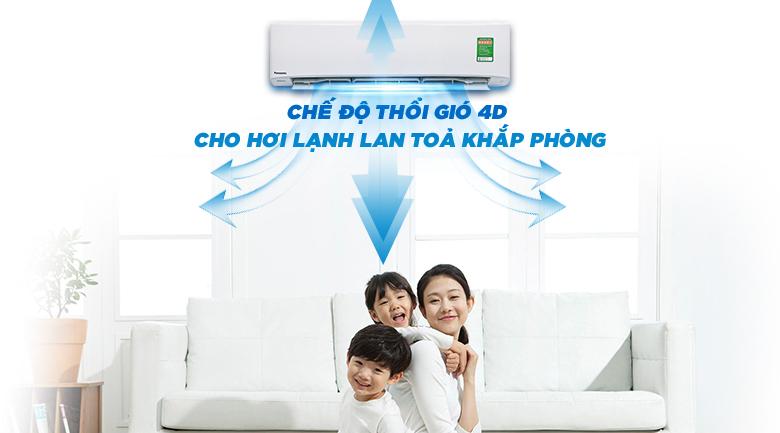 Chế độ thổi gió 4D - Máy lạnh Panasonic Inverter 1 HP CU/CS-U9TKH-8