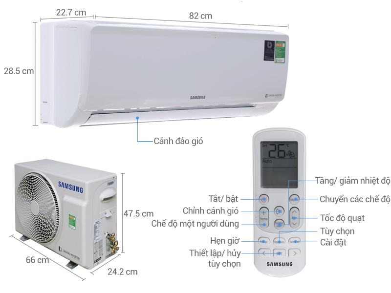 Thông số kỹ thuật Máy lạnh Samsung Inverter 1.0 HP AR10MVFHGWKNSV