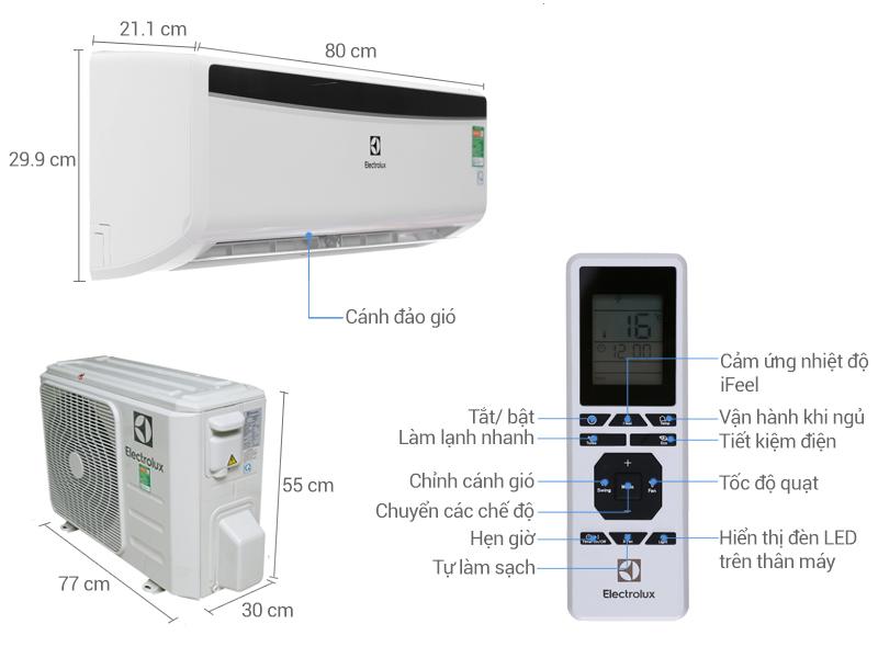 Thông số kỹ thuật Máy lạnh Electrolux 1 HP ESM09CRM-A4