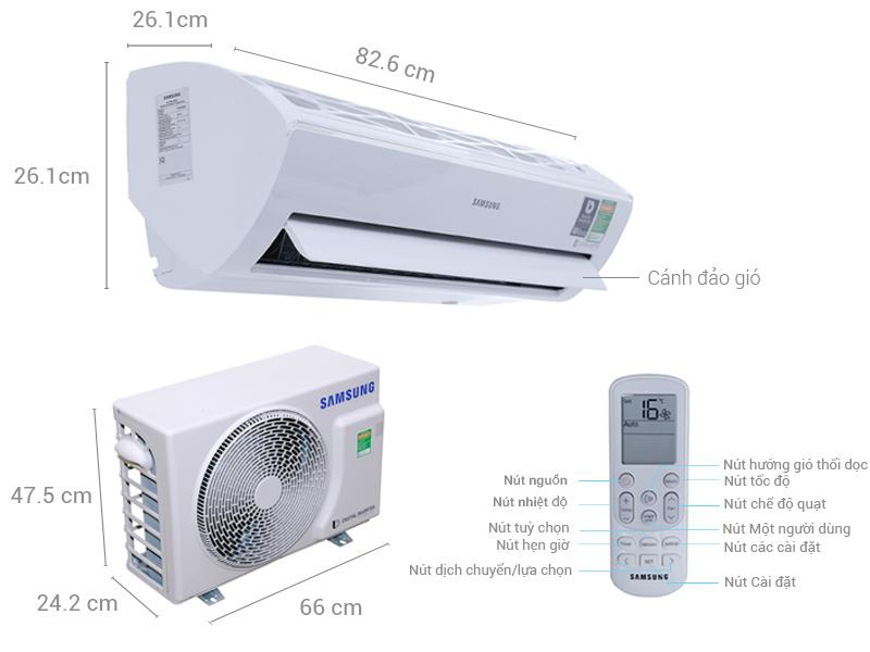Thông số kỹ thuật Máy lạnh Samsung Inverter 1 HP AR10MVFSBWKNSV