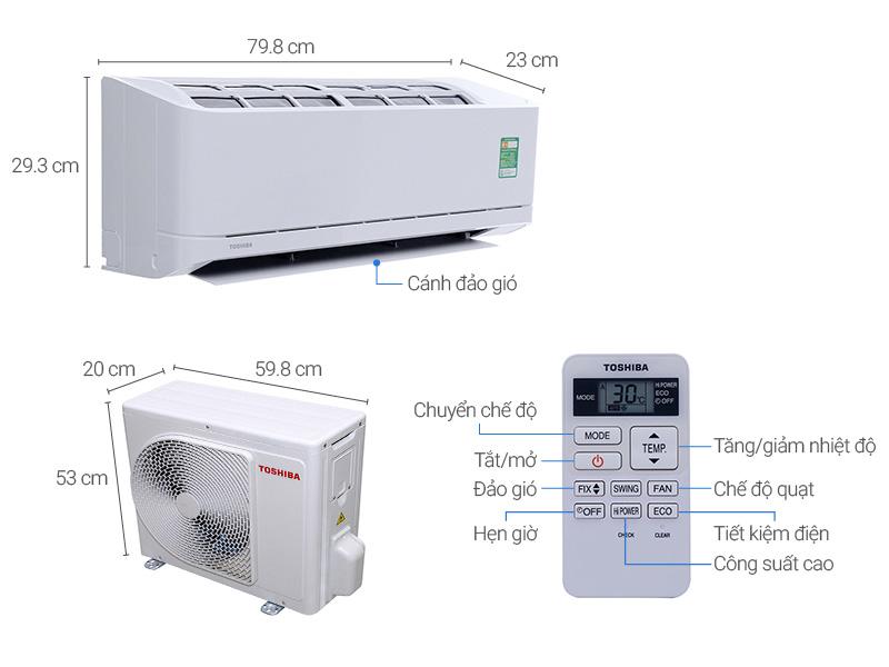 Thông số kỹ thuật Máy lạnh Toshiba 1.0 HP RAS-H10QKSG-V