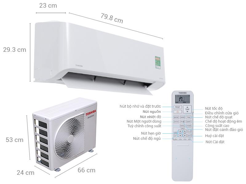Thông số kỹ thuật Máy lạnh Toshiba Inverter 1.5 HP RAS-H13PKCVG-V