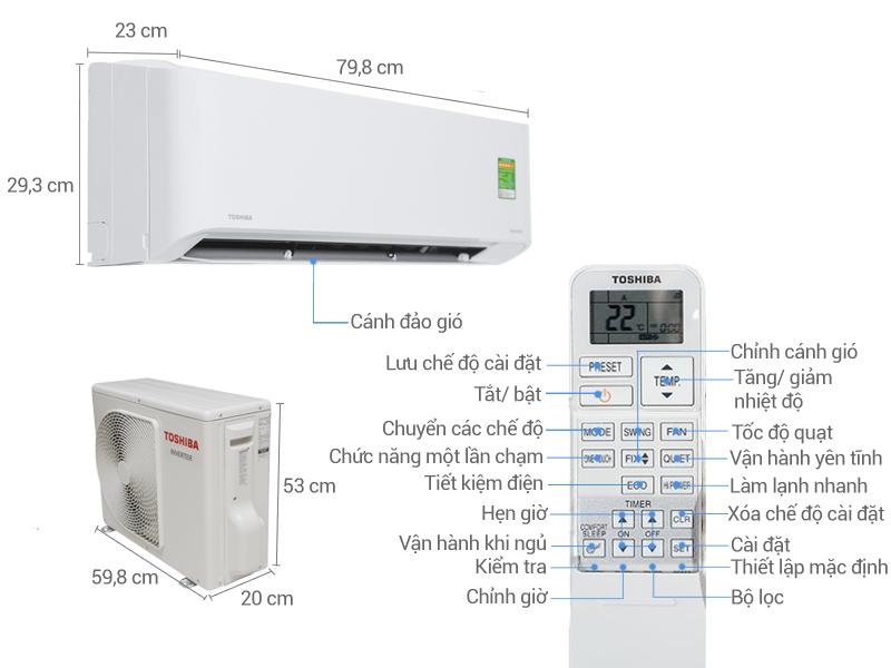 Thông số kỹ thuật Máy lạnh Toshiba Inverter 1.0 HP RAS-H10ZKCV-V