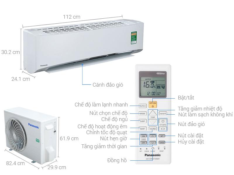 Thông số kỹ thuật Máy lạnh Panasonic Inverter 2.0 HP CU/CS-U18TKH-8