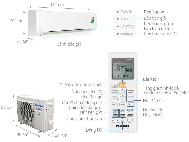 Thông số kỹ thuật Máy lạnh Panasonic Inverter 2.5 HP CU/CS-U24TKH-8