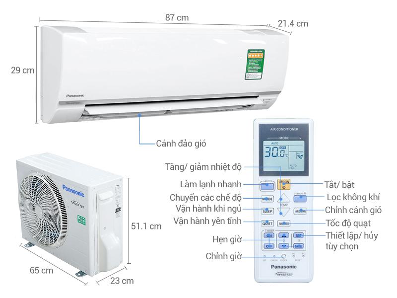 Thông số kỹ thuật Máy lạnh Panasonic Inverter 1 HP CU/CS-PU9TKH-8