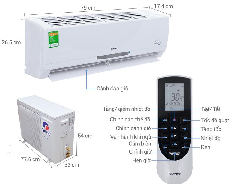 Thông số kỹ thuật Máy lạnh Gree Inverter 1.0 HP GWC09MA-K3DNC2I