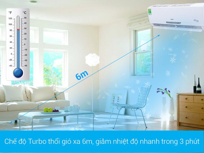 Chế độ làm lạnh nhanh Turbo - Điều hòa treo tường Gree GWC12MA-K3DNC2I Inverter 1.5HP