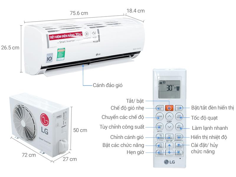 Thông số kỹ thuật Máy lạnh LG Inverter 1 HP V10ENQ